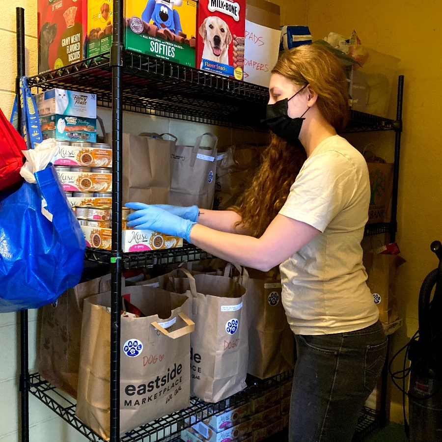 A team member in a yellow shirt stocks the pet food pantry shelves