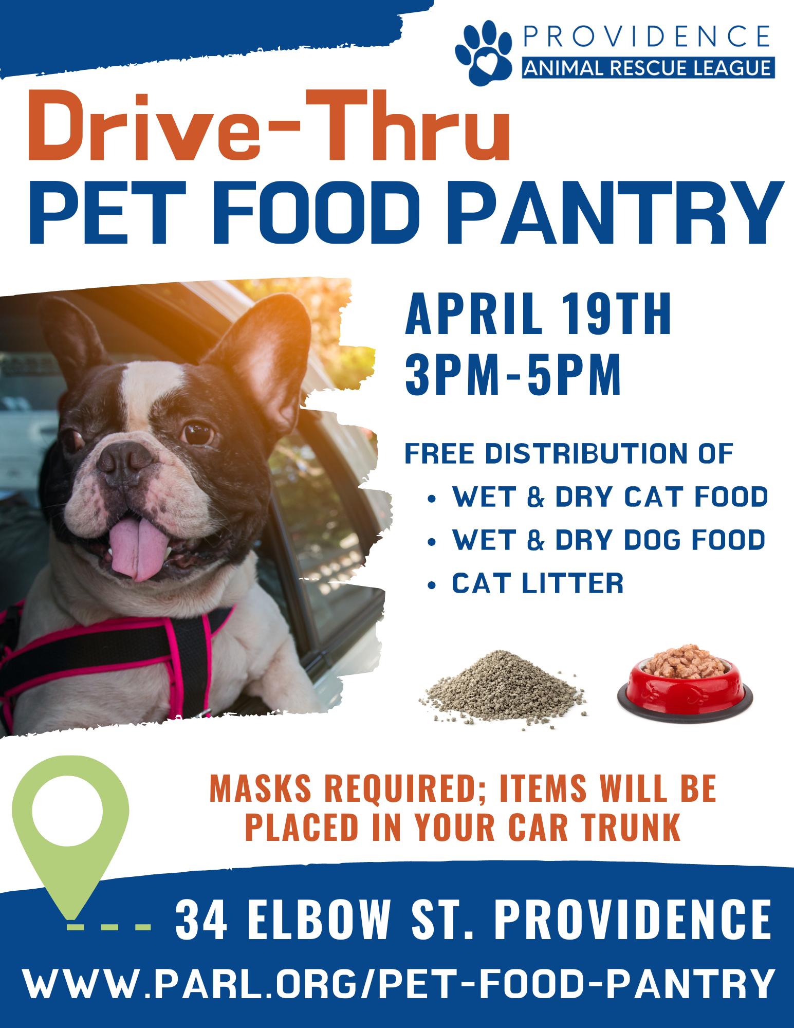 Pet Food Pantry Poster for April 19th, 3-5pm